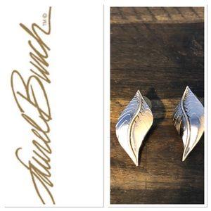 Laurel Burch silver leaf pierced earrings